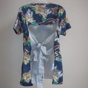 ASOS Tiger Print Open Tie Back T Shirt Top